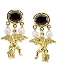 Vintouch Italy - Cherubini Garnet & Pearls Earrings - Lyst