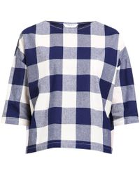 Paisie - Boxy Checked Top With Three Quarter Sleeves - Lyst