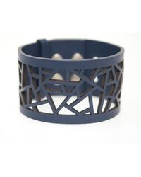 Ona Chan Jewelry - Leather Lattice Cuff Navy - Lyst