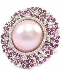 Ri Noor - Pink Pearl With Ruby & Diamond Ring - Lyst