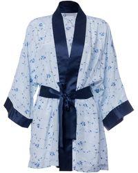 Roses Are Red - Sonata For The Dawn Silk Kimono Blue - Lyst