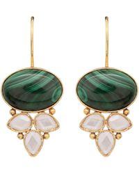 Carousel Jewels - Malachite & Crystal Drop Earrings - Lyst