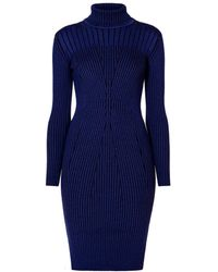 Rumour London   Cleo Blue Two-tone Ribbed Knit Dress   Lyst