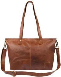 MAHI - Leather Tote Bag/handbag In Vintage Brown - Lyst