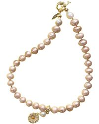 Farra - Orange Freshwater Pearls With Flower Pendant Summer Necklace - Lyst