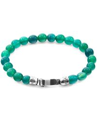 Anchor & Crew - Silver & Green Agate Stone Outrigger Bracelet - Lyst
