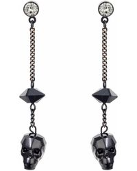 Nadia Minkoff - Crystal Skull & Spike Earrings Jet - Lyst