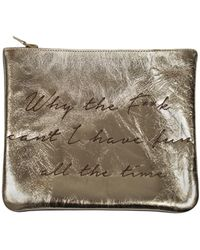 Sarah Baily | Wtf Cant I Have Fun All The Time Leopard & Gold Mini Clutch | Lyst