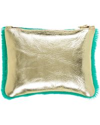 Sarah Baily - I'm Not Going Home Micro Clutch Green Hair & Gold - Lyst