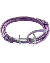 Anchor & Crew - Grape Purple Admiral Leather Bracelet - Lyst