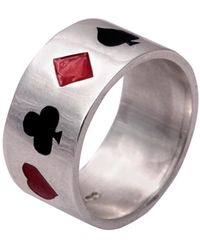 Edge Only - Poker Ring Enamelled Silver - Lyst