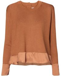 Paisie - Brown Silk Panel Top With Back Buttons - Lyst
