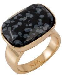 Nadia Minkoff - Semi Precious Horizontal Ring Gold With Black Snowflake Obsidian - Lyst
