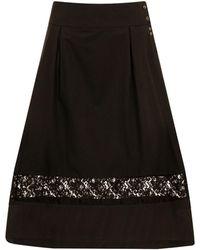 Sophie Cameron Davies - Black Cotton A-line Midi Skirt - Lyst