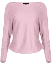 NY CHARISMA - Pink V Neck Jumper With Studs - Lyst