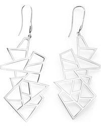 Ona Chan Jewelry - Multi Lattice Drop Earrings Silver - Lyst