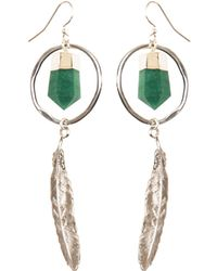 Tiana Jewel - Feather Canyon Green Quartz Hoop Earrings Silver - Lyst