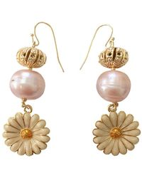 Farra - Freshwater Pearls Floral Dangle Earrings - Lyst