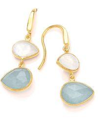 Dione London - Artemis Moonstone & Aqua Tear Earrings - Lyst