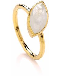 Dione London - Nova Moonstone Marquise Off-set Ring - Lyst