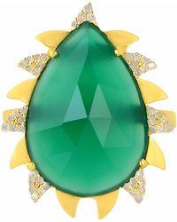 Meghna Jewels | Claw Ring Green Onyx & Diamonds | Lyst