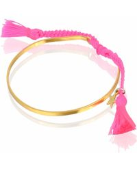 JIYA - Alexa Gold Cuff Neon Pink - Lyst