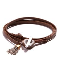JAM MMXIV - Camel Leather Shoestring Wrap Bracelet With Two-tone Tassel Charm - Lyst