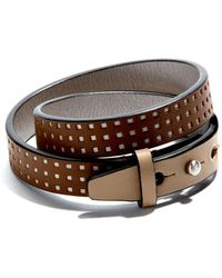JAM MMXIV - Camel & Tan Perforated Double Wrap Bracelet - Lyst