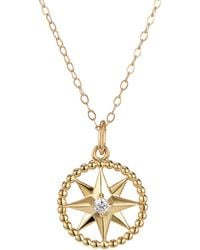 One and One Studio - Crystal Star Charm Pendant In Gold On 14 Inch Choker Length Chain - Lyst