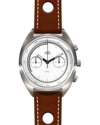 MHD Watches - Mhdcr1 Chronograph Watch With White Dial Brown Strap - Lyst