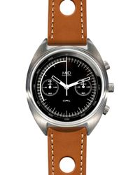 MHD Watches - Mhdcr1 Chronograph Watch With Black Dial & Tan Strap - Lyst