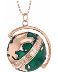 True Rocks - Large Globe Necklace Rose Gold & Green Enamel - Lyst