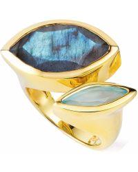 Neola - Celestine Gold Ring Labradorite & Chalcedony - Lyst
