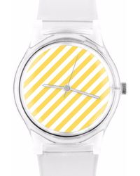 May28th - 05:45pm Yellow & White Stripe Watch - Lyst