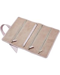 Stow - Soft Leather Gertrude Travel Jewellery Roll Metallic Pink Gloss & Beige - Lyst
