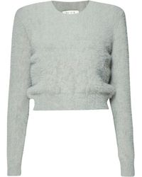 Paisie - Soft Fluffy Cropped Jumper In Grey - Lyst