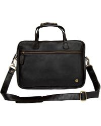 MAHI - Compact Leather Laptop Satchel Bag In Black - Lyst