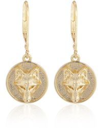 Alexa K - 18kt Gold Plated Brass Wolf Disc Earrings - Lyst