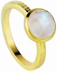 Neola - Estella Gold Stacking Ring With Rainbow Moonstone - Lyst