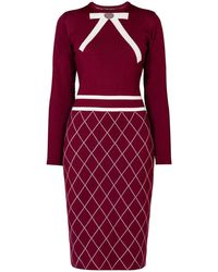 Rumour London - Chloe Bow Jacquard Knitted Dress In Mulberry - Lyst