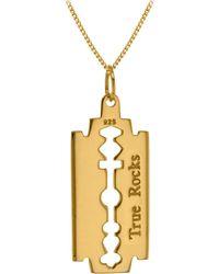 True Rocks - Razor Blade Pendant 18 Carat Gold Plated - Lyst
