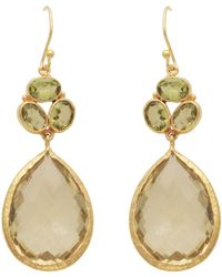 Carousel Jewels - Gold Peridot & Lemon Topaz Teardrop Earrings - Lyst