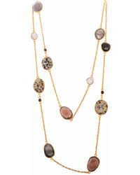 Carousel Jewels - Black Onyx Dendrite Smoky Quartz & Pearl Chain Necklace - Lyst