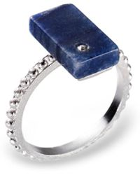 Ona Chan Jewelry - Triangle Ring With Blue Agate & Swarovski - Lyst