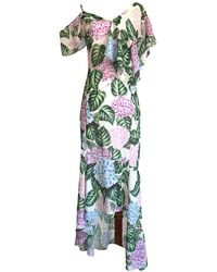 LEFON New York - One Shoulder Strap Flower Print Dress - Lyst