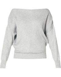 Paisie - Bardot Jumper With Fitted Waist In Grey - Lyst