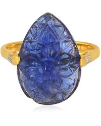 Artisan - 18k Gold Ring With Carved Pear Tanzanite - Lyst