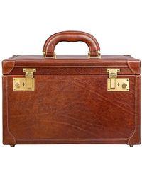 Maxwell Scott Bags - Luxury Italian Leather Women's Vanity Case Bellino Classic Chestnut Tan - Lyst