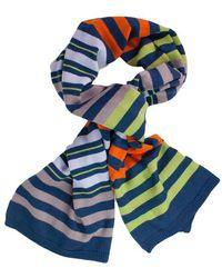 40 Colori - Taupe Petrol Blue Grass Multi Striped Wool Scarf - Lyst