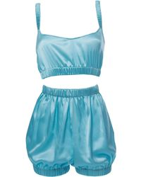 Roses Are Red - Sundays Are For Ever Silk Sleepwear Set Blue - Lyst
